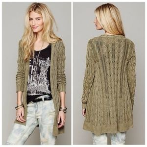 Free People long cable knit cardigan